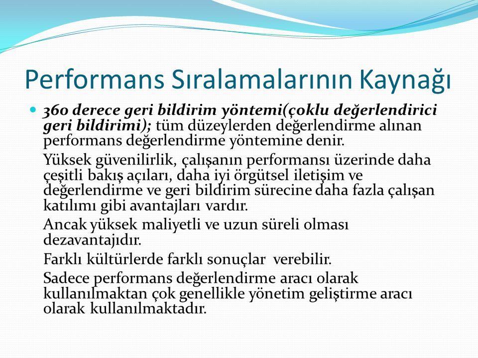 Performans Sıralamalarının Kaynağı 360 derece geri bildirim yöntemi(çoklu değerlendirici geri bildirimi); tüm düzeylerden değerlendirme alınan perform