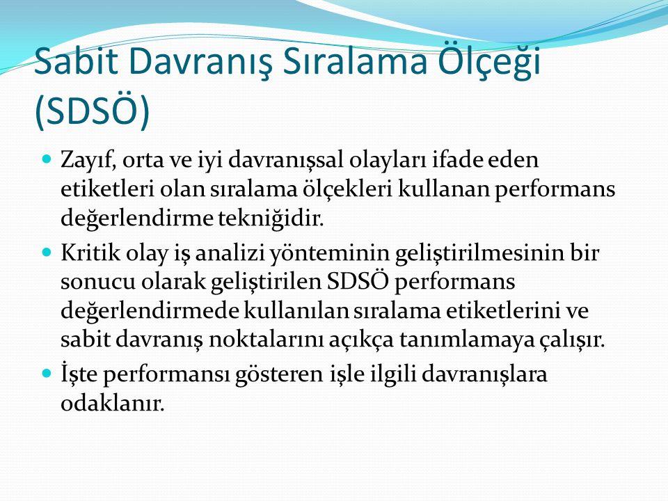 Sabit Davranış Sıralama Ölçeği (SDSÖ) Zayıf, orta ve iyi davranışsal olayları ifade eden etiketleri olan sıralama ölçekleri kullanan performans değerl