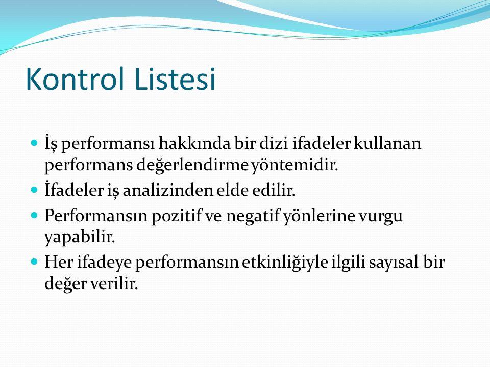 Kontrol Listesi İş performansı hakkında bir dizi ifadeler kullanan performans değerlendirme yöntemidir. İfadeler iş analizinden elde edilir. Performan