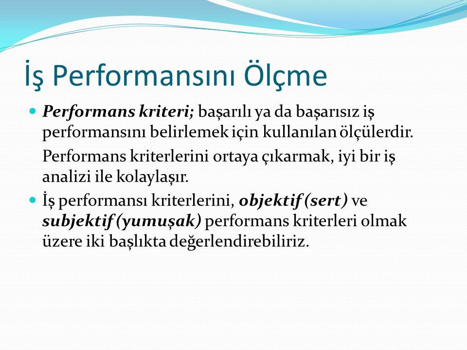 İş Performansını Ölçme Performans kriteri; başarılı ya da başarısız iş performansını belirlemek için kullanılan ölçülerdir. Performans kriterlerini or