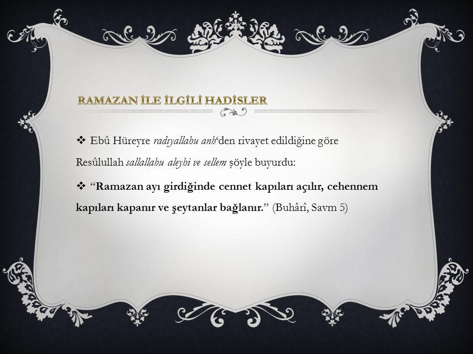 """ Ebû Hüreyre radıyallahu anh'den rivayet edildiğine göre Resûlullah sallallahu aleyhi ve sellem şöyle buyurdu:  """"Ramazan ayı girdiğinde cennet kapıl"""