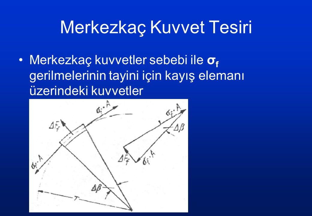 Merkezkaç Kuvvet Tesiri Merkezkaç kuvvetler sebebi ile σ f gerilmelerinin tayini için kayış elemanı üzerindeki kuvvetler