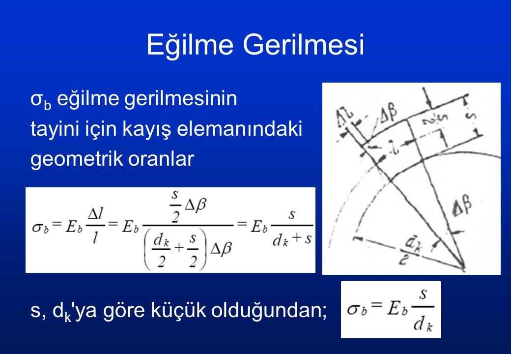 Eğilme Gerilmesi σ b eğilme gerilmesinin tayini için kayış elemanındaki geometrik oranlar s, d k 'ya göre küçük olduğundan;