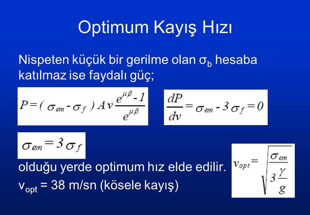 Optimum Kayış Hızı Nispeten küçük bir gerilme olan σ b hesaba katılmaz ise faydalı güç; olduğu yerde optimum hız elde edilir. v opt = 38 m/sn (kösele