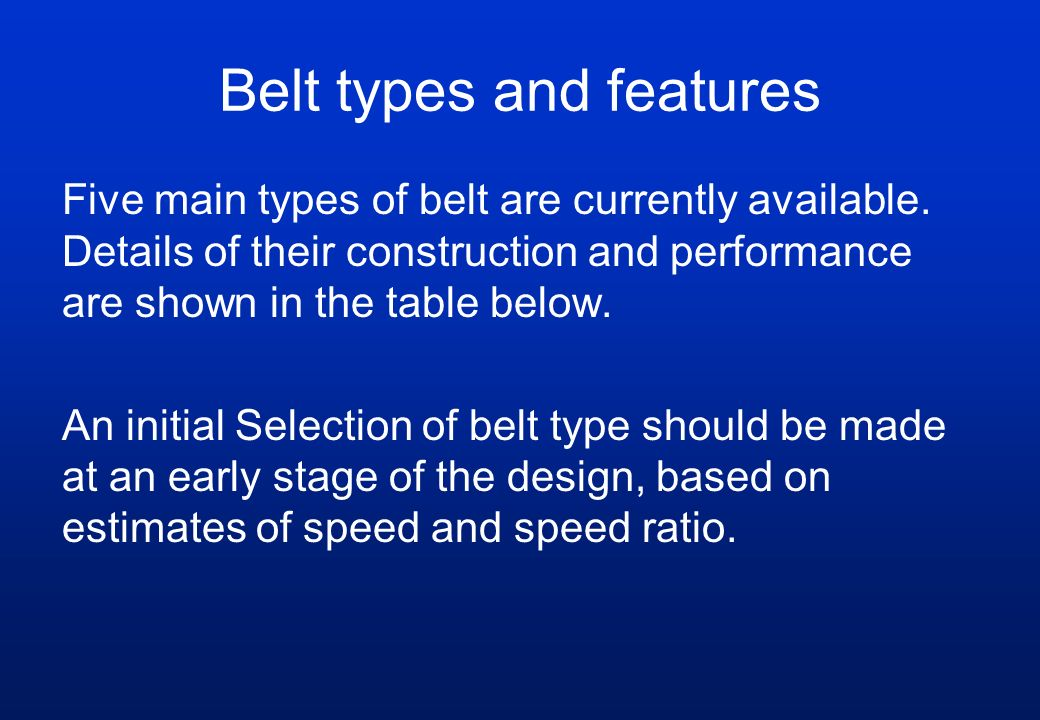 Belt types and features Five main types of belt are currently available. Details of their construction and performance are shown in the table below. A