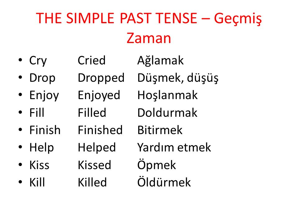 THE SIMPLE PAST TENSE – Geçmiş Zaman Cry Cried Ağlamak Drop Dropped Düşmek, düşüş Enjoy Enjoyed Hoşlanmak Fill Filled Doldurmak Finish Finished Bitirmek Help Helped Yardım etmek Kiss Kissed Öpmek Kill Killed Öldürmek