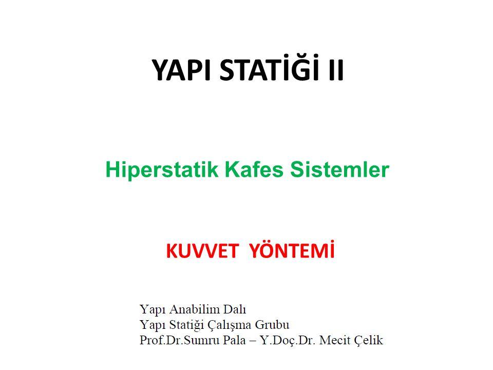 YAPI STATİĞİ II KUVVET YÖNTEMİ Hiperstatik Kafes Sistemler