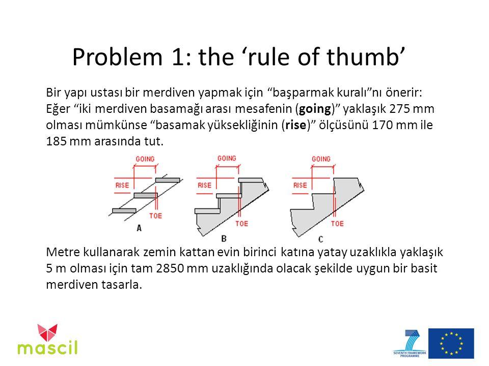 """Bir yapı ustası bir merdiven yapmak için """"başparmak kuralı""""nı önerir: Eğer """"iki merdiven basamağı arası mesafenin (going)"""" yaklaşık 275 mm olması mümk"""