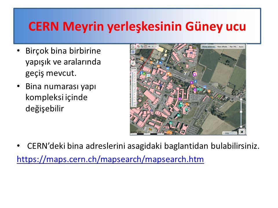 CERN Meyrin yerleşkesinin Güney ucu Birçok bina birbirine yapışık ve aralarında geçiş mevcut.