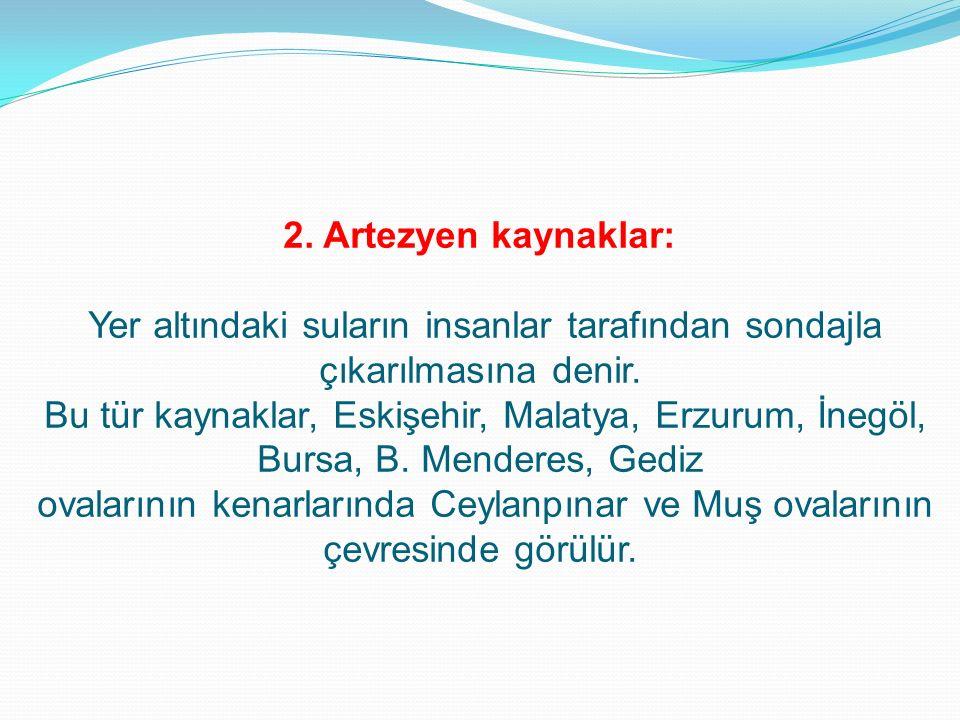 2. Artezyen kaynaklar: Yer altındaki suların insanlar tarafından sondajla çıkarılmasına denir. Bu tür kaynaklar, Eskişehir, Malatya, Erzurum, İnegöl,