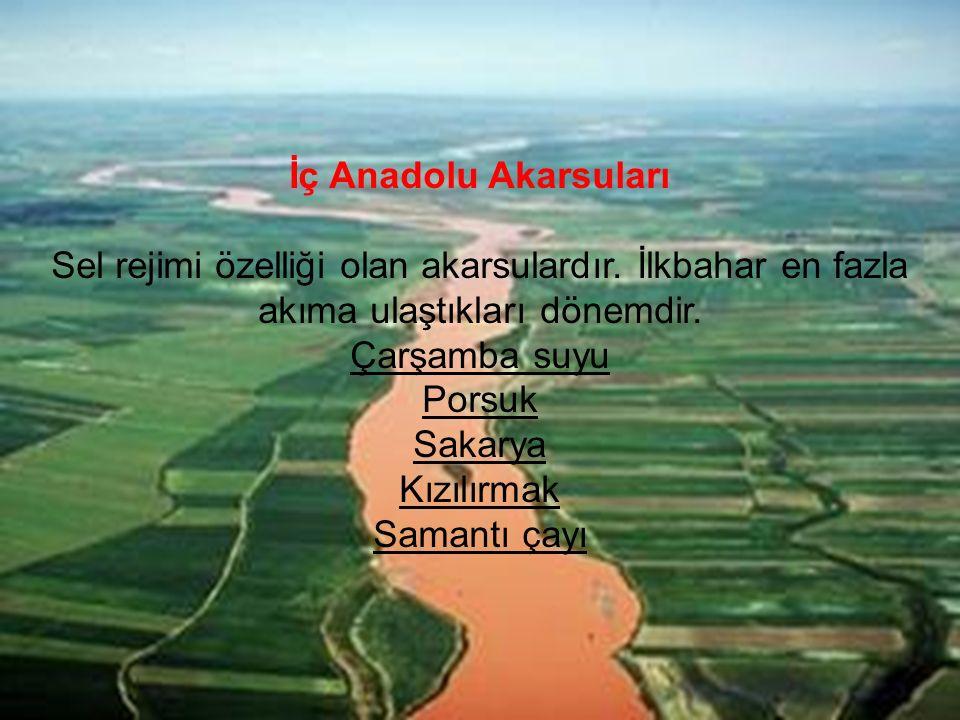 İç Anadolu Akarsuları Sel rejimi özelliği olan akarsulardır. İlkbahar en fazla akıma ulaştıkları dönemdir. Çarşamba suyu Porsuk Sakarya Kızılırmak Sam
