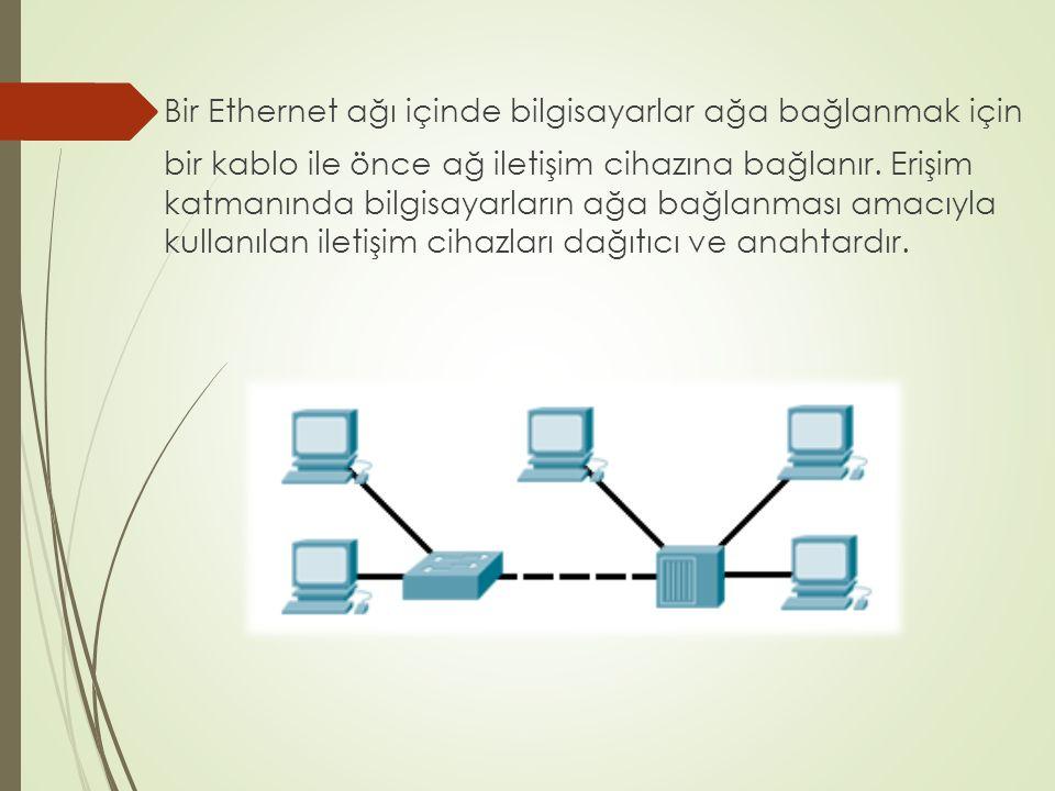 Bir Ethernet ağı içinde bilgisayarlar ağa bağlanmak için bir kablo ile önce ağ iletişim cihazına bağlanır.