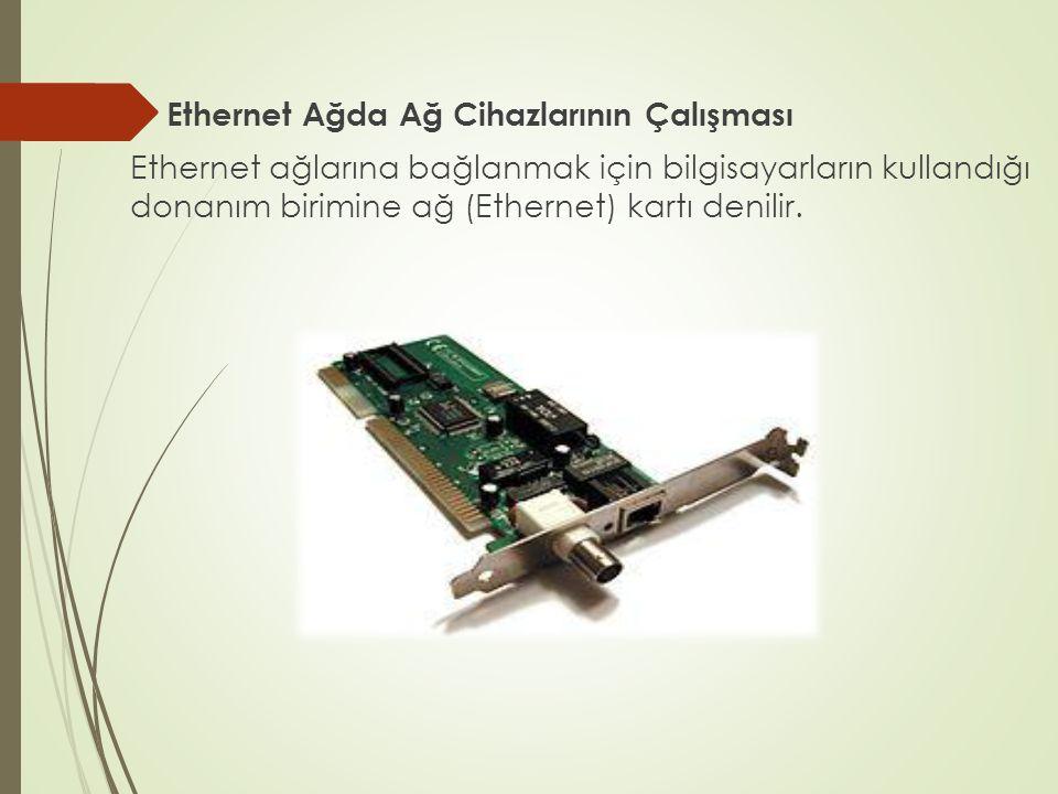 Ethernet Ağda Ağ Cihazlarının Çalışması Ethernet ağlarına bağlanmak için bilgisayarların kullandığı donanım birimine ağ (Ethernet) kartı denilir.