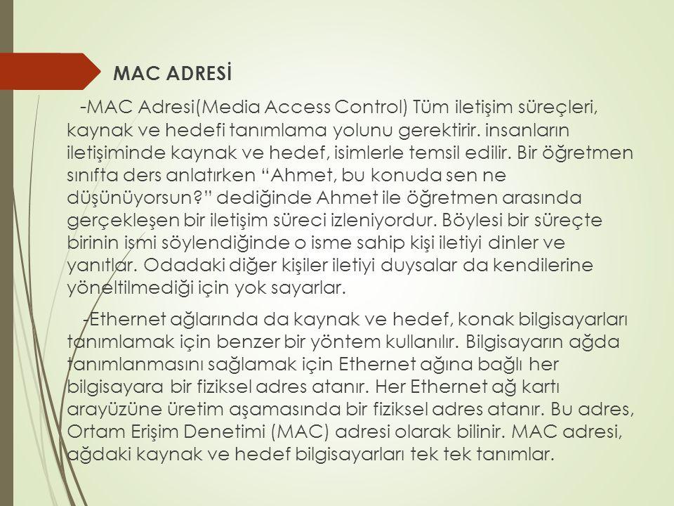 MAC ADRESİ - MAC Adresi(Media Access Control) Tüm iletişim süreçleri, kaynak ve hedefi tanımlama yolunu gerektirir.