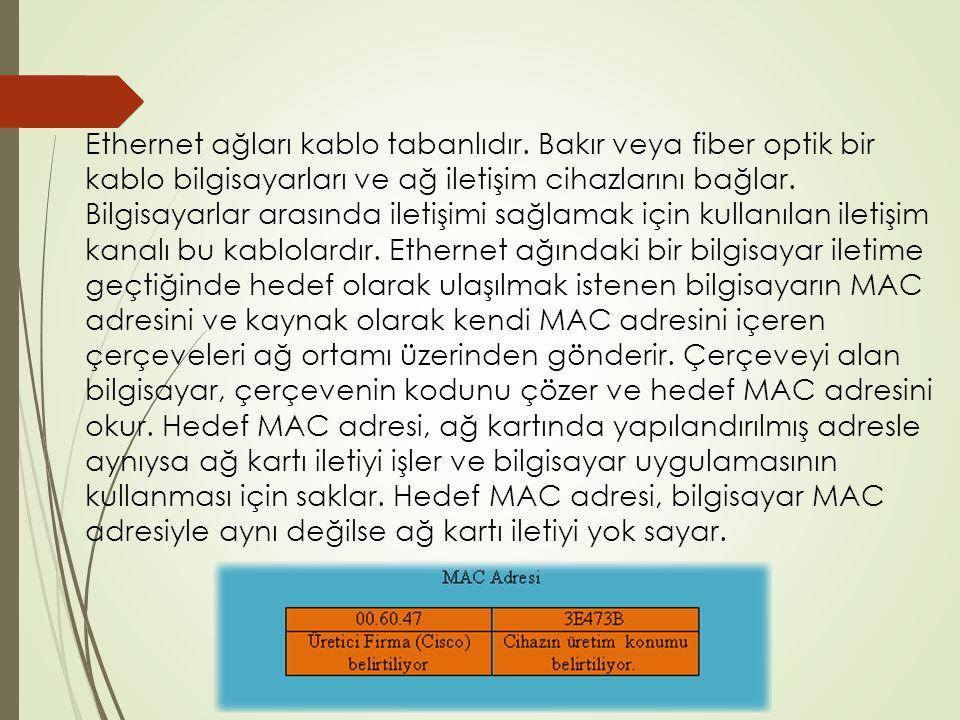 Ethernet ağları kablo tabanlıdır.