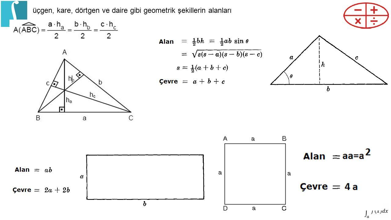 üçgen, kare, dörtgen ve daire gibi geometrik şekillerin alanları