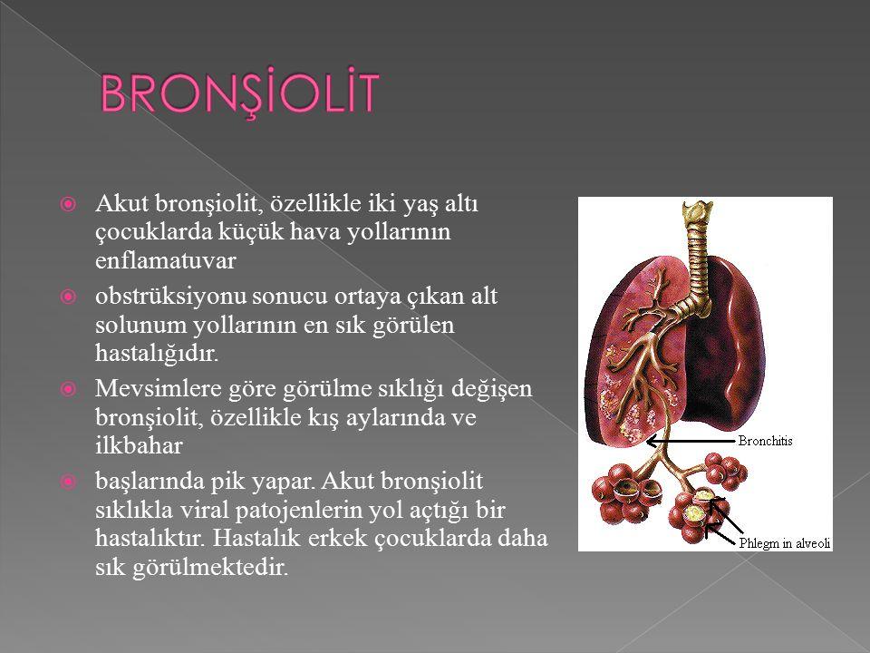  Akut bronşiolit, özellikle iki yaş altı çocuklarda küçük hava yollarının enflamatuvar  obstrüksiyonu sonucu ortaya çıkan alt solunum yollarının en sık görülen hastalığıdır.