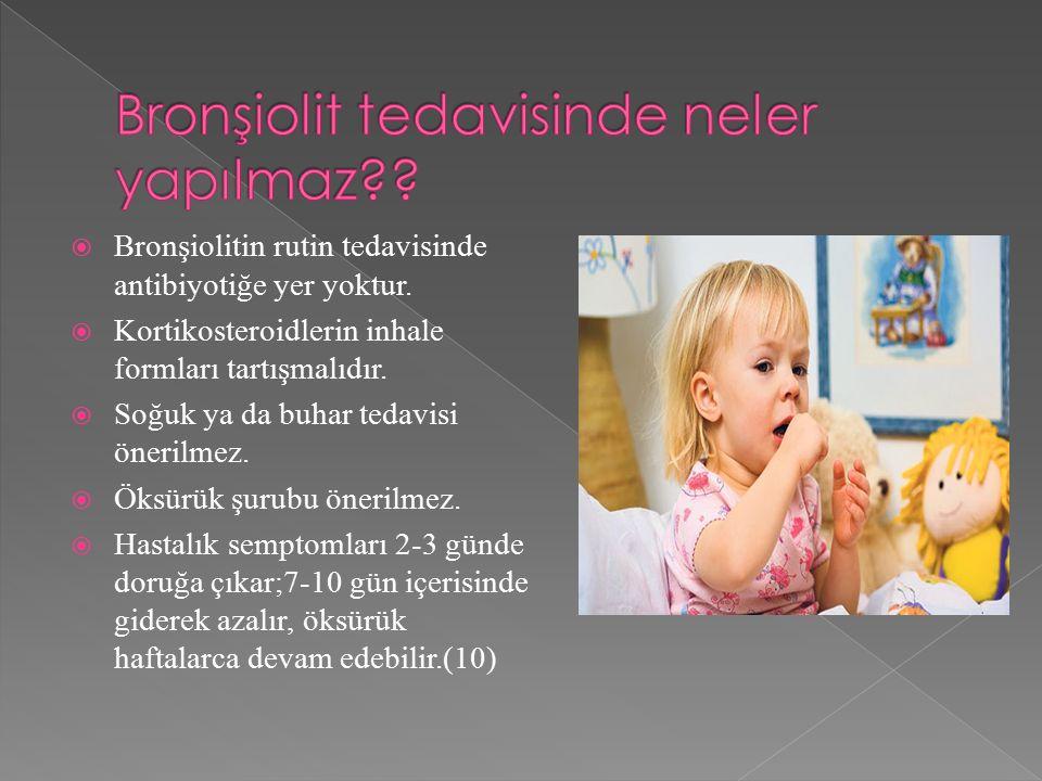  Bronşiolitin rutin tedavisinde antibiyotiğe yer yoktur.  Kortikosteroidlerin inhale formları tartışmalıdır.  Soğuk ya da buhar tedavisi önerilmez.