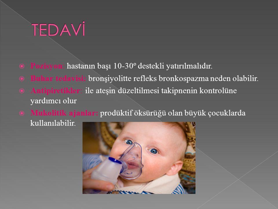  Pozisyon: hastanın başı 10-30º destekli yatırılmalıdır.