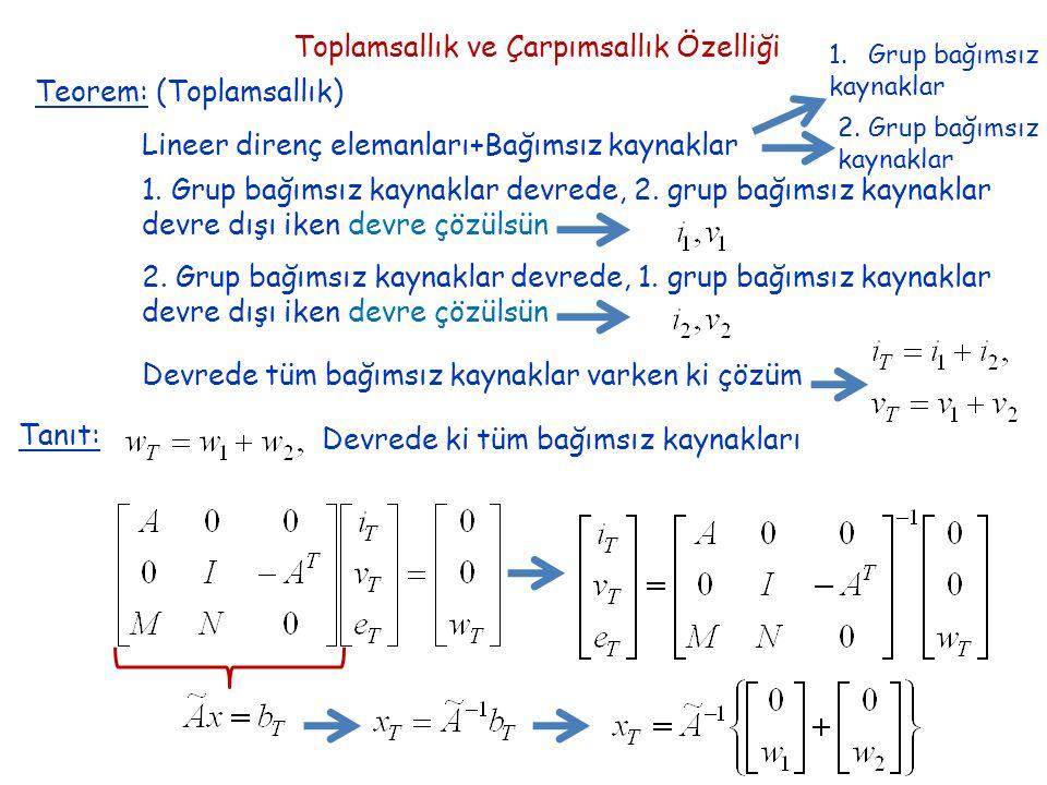 Toplamsallık ve Çarpımsallık Özelliği Teorem: (Toplamsallık) Lineer direnç elemanları+Bağımsız kaynaklar 1.Grup bağımsız kaynaklar 2.