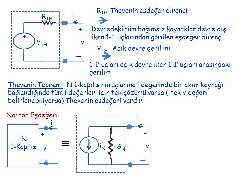 + _ v i + _ R TH V TH R TH Thevenin eşdeğer direnci Devredeki tüm bağımsız kaynaklar devre dışı iken 1-1' uçlarından görülen eşdeğer direnç V TH Açık devre gerilimi 1-1' uçları açık devre iken 1-1' uçları arasındaki gerilim Thevenin Teorem: N 1-kapılısının uçlarına i değerinde bir akım kaynağı bağlandığında tüm i değerleri için tek çözümü varsa ( tek v değeri belirlenebiliyorsa) Thevenin eşdeğeri vardır.