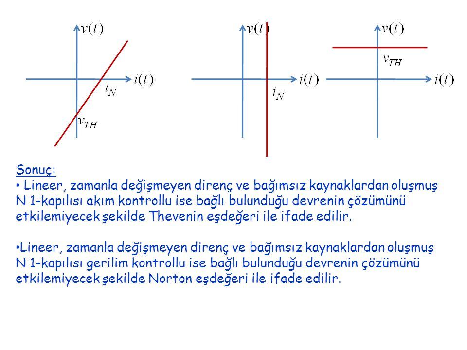 Sonuç: Lineer, zamanla değişmeyen direnç ve bağımsız kaynaklardan oluşmuş N 1-kapılısı akım kontrollu ise bağlı bulunduğu devrenin çözümünü etkilemiyecek şekilde Thevenin eşdeğeri ile ifade edilir.