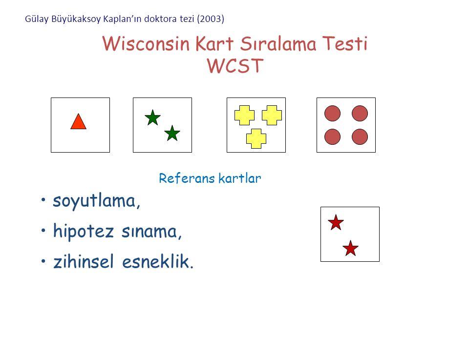 WCST-Testin Değerlendirilmesi Doğru yanıtlar Tamamlanan kategoriler Perseveratif (ısrarcı) yanıtlar Kurulumu sürdürmede başarısızlık (FMS)