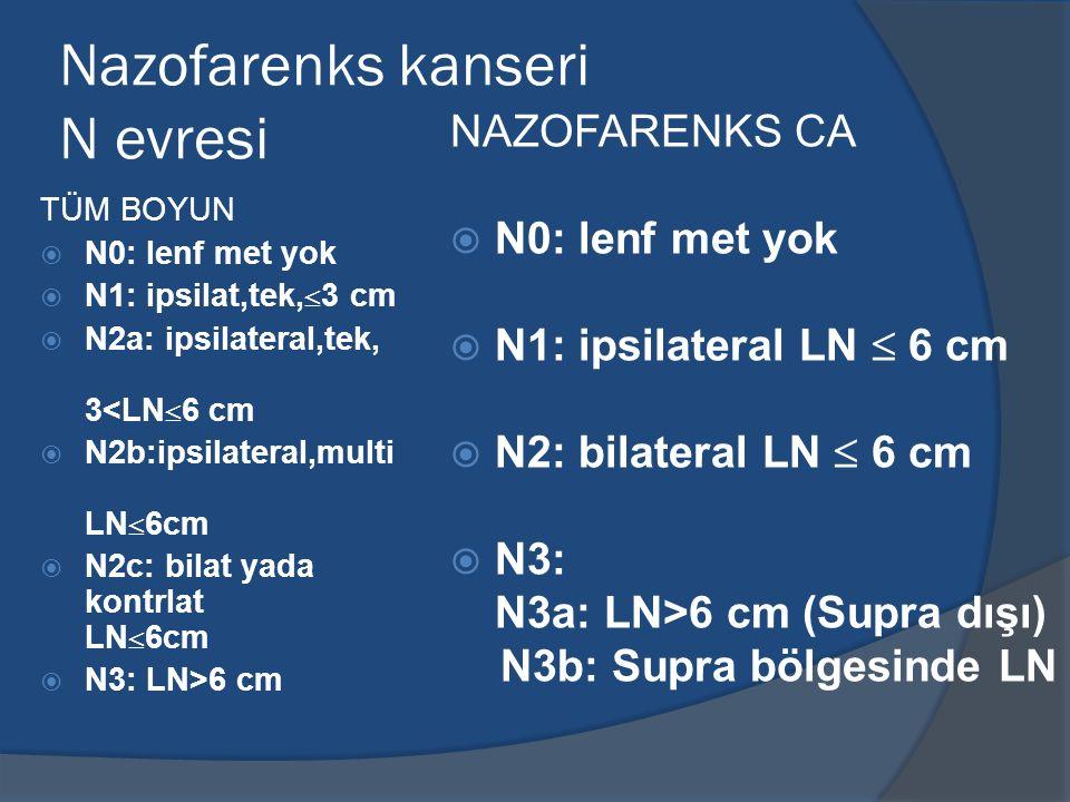 Nazofarenks kanseri N evresi TÜM BOYUN  N0: lenf met yok  N1: ipsilat,tek,  3 cm  N2a: ipsilateral,tek, 3<LN  6 cm  N2b:ipsilateral,multi LN  6