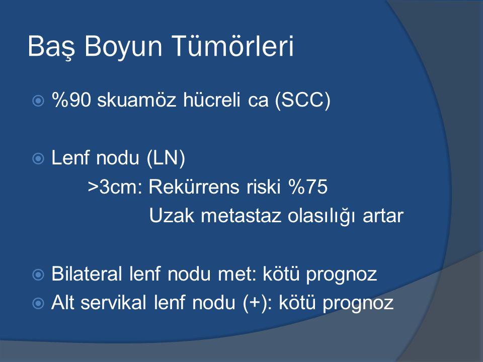 Baş Boyun Tümörleri  %90 skuamöz hücreli ca (SCC)  Lenf nodu (LN) >3cm: Rekürrens riski %75 Uzak metastaz olasılığı artar  Bilateral lenf nodu met: