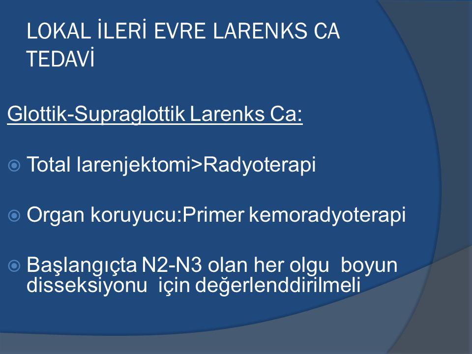 LOKAL İLERİ EVRE LARENKS CA TEDAVİ Glottik-Supraglottik Larenks Ca:  Total larenjektomi>Radyoterapi  Organ koruyucu:Primer kemoradyoterapi  Başlang