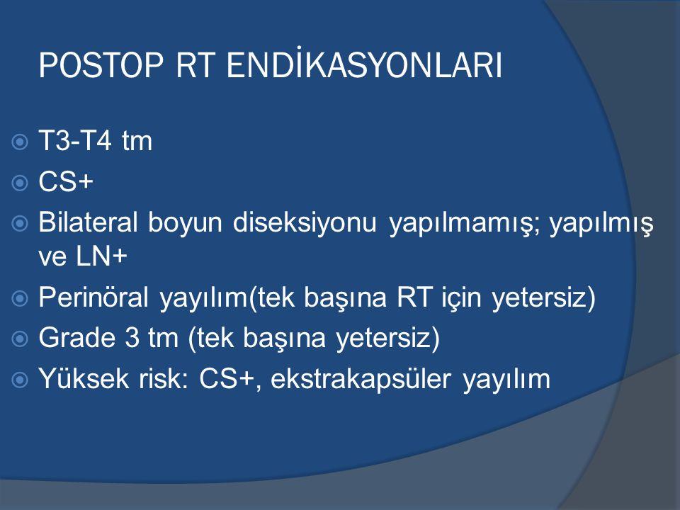 POSTOP RT ENDİKASYONLARI  T3-T4 tm  CS+  Bilateral boyun diseksiyonu yapılmamış; yapılmış ve LN+  Perinöral yayılım(tek başına RT için yetersiz) 