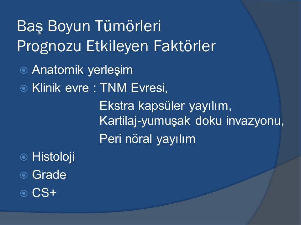 Baş Boyun Tümörleri Prognozu Etkileyen Faktörler  Anatomik yerleşim  Klinik evre : TNM Evresi, Ekstra kapsüler yayılım, Kartilaj-yumuşak doku invazy