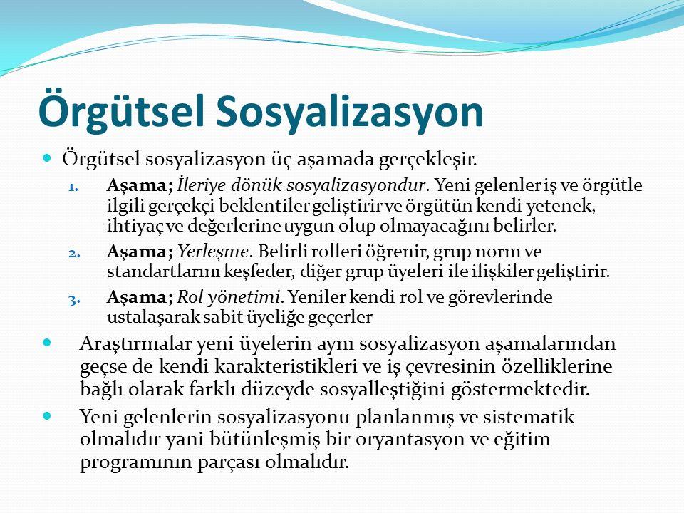 Örgütsel Sosyalizasyon Örgütsel sosyalizasyon üç aşamada gerçekleşir. 1. Aşama; İleriye dönük sosyalizasyondur. Yeni gelenler iş ve örgütle ilgili ger