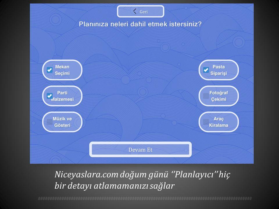 Niceyaslara.com doğum günü ''Planlayıcı'' hiç bir detayı atlamamanızı sağlar