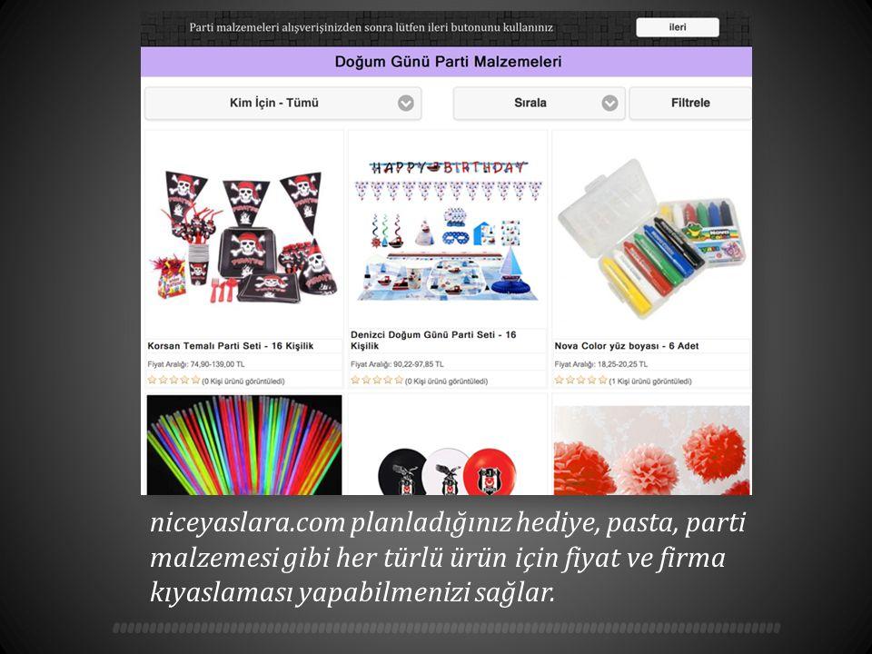niceyaslara.com planladığınız hediye, pasta, parti malzemesi gibi her türlü ürün için fiyat ve firma kıyaslaması yapabilmenizi sağlar.