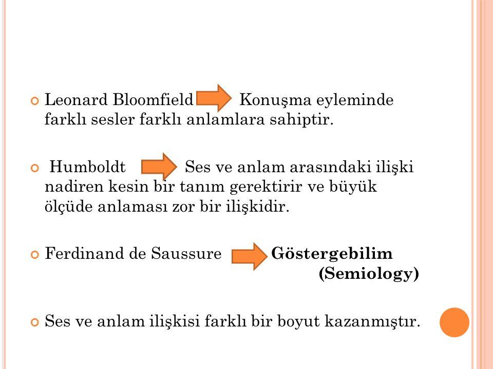 Leonard Bloomfield Konuşma eyleminde farklı sesler farklı anlamlara sahiptir. Humboldt Ses ve anlam arasındaki ilişki nadiren kesin bir tanım gerektir