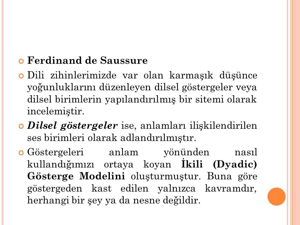 Ferdinand de Saussure Dili zihinlerimizde var olan karmaşık düşünce yoğunluklarını düzenleyen dilsel göstergeler veya dilsel birimlerin yapılandırılmı