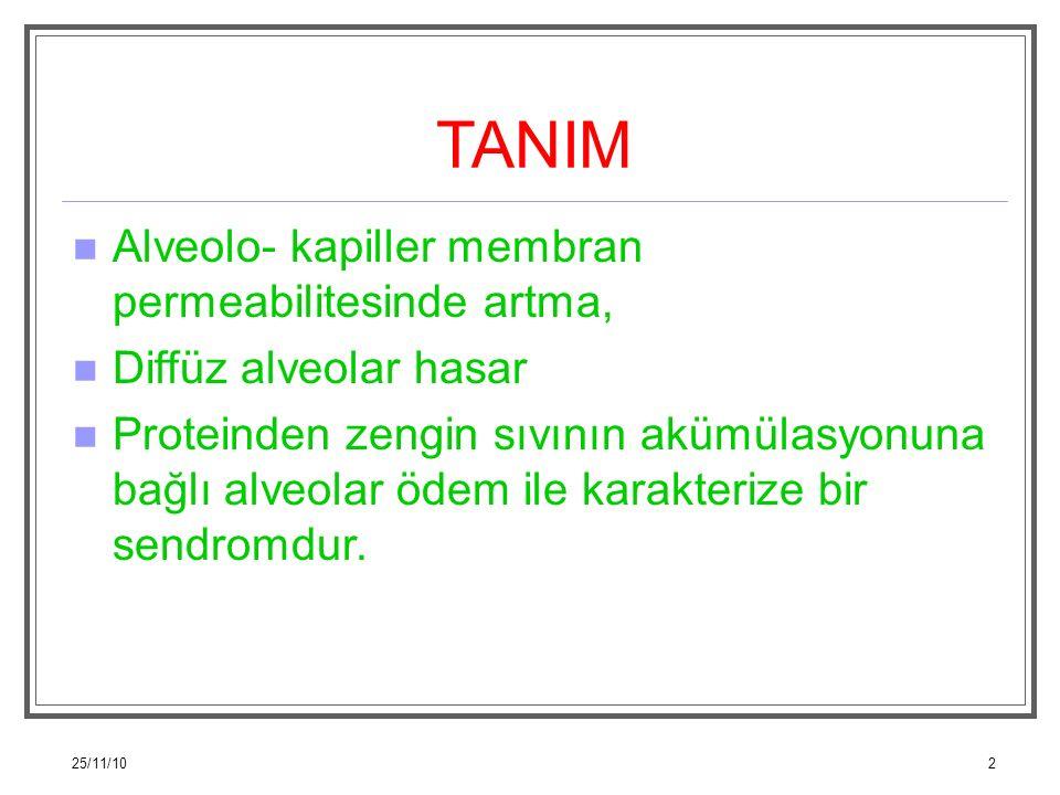 25/11/102 TANIM Alveolo- kapiller membran permeabilitesinde artma, Diffüz alveolar hasar Proteinden zengin sıvının akümülasyonuna bağlı alveolar ödem