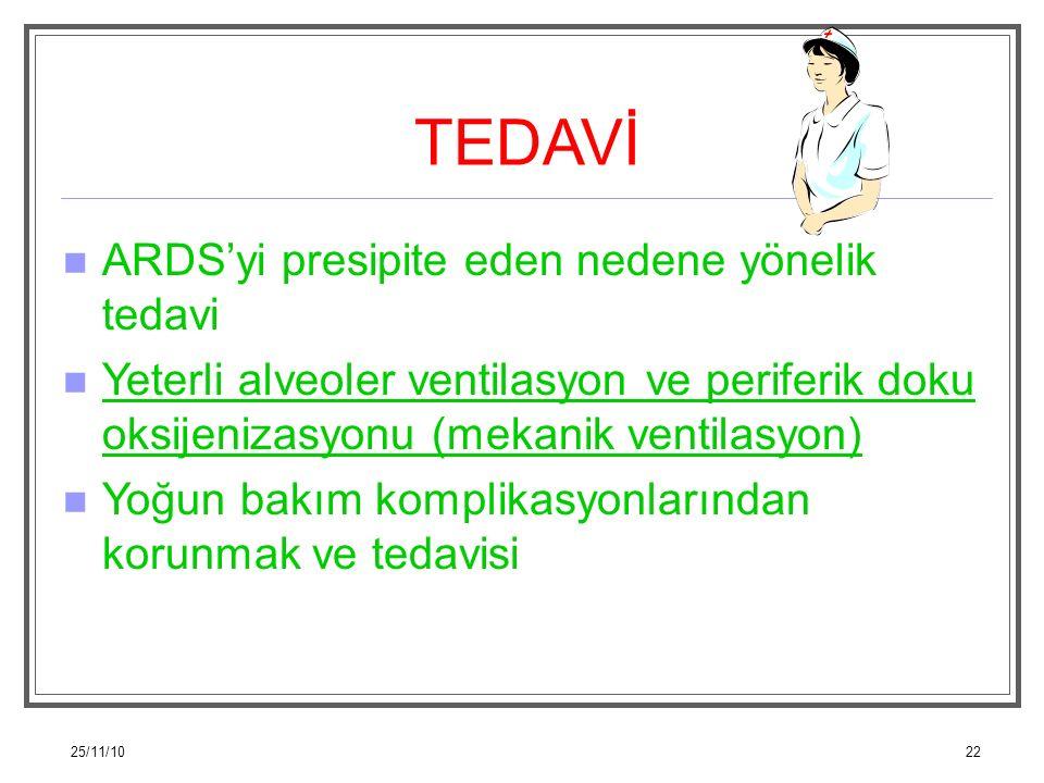 25/11/1022 TEDAVİ ARDS'yi presipite eden nedene yönelik tedavi Yeterli alveoler ventilasyon ve periferik doku oksijenizasyonu (mekanik ventilasyon) Yo