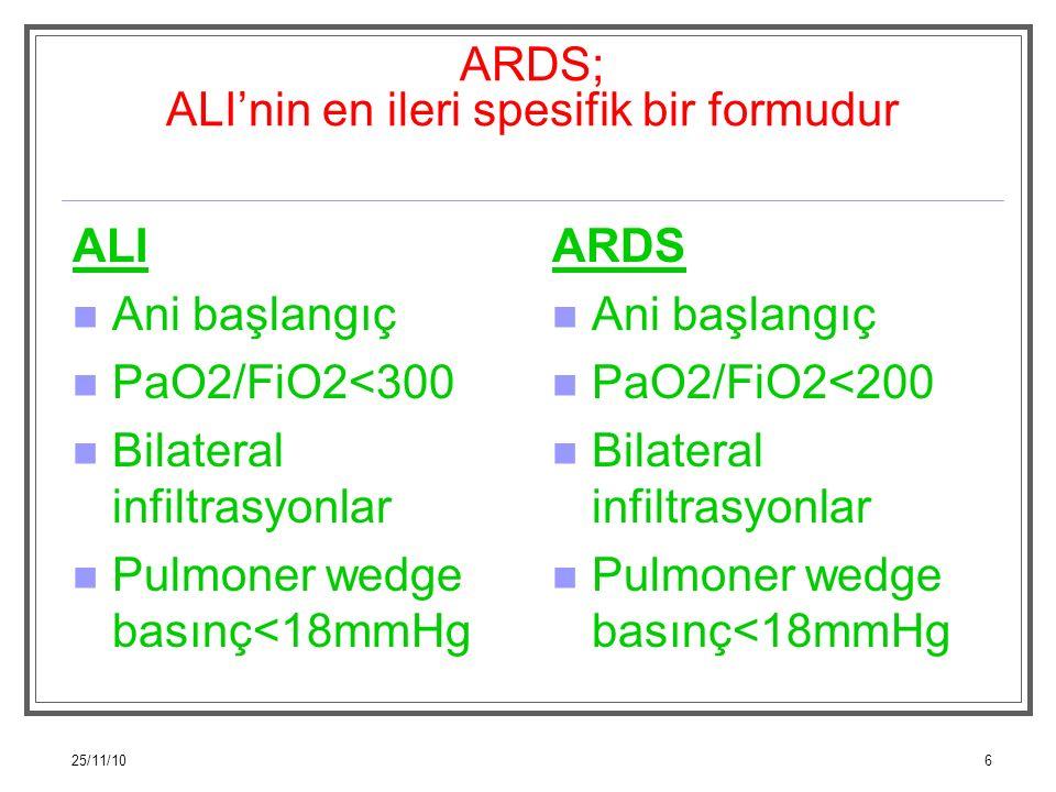 25/11/106 ARDS; ALI'nin en ileri spesifik bir formudur ALI Ani başlangıç PaO2/FiO2<300 Bilateral infiltrasyonlar Pulmoner wedge basınç<18mmHg ARDS Ani
