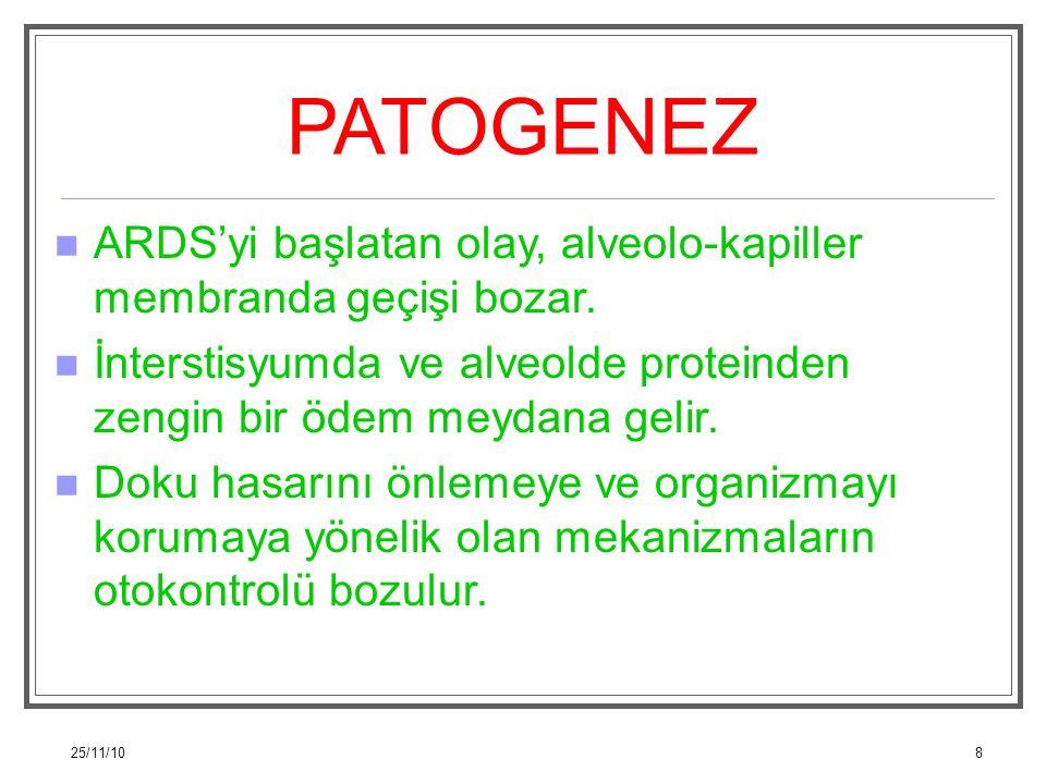 25/11/108 PATOGENEZ ARDS'yi başlatan olay, alveolo-kapiller membranda geçişi bozar. İnterstisyumda ve alveolde proteinden zengin bir ödem meydana geli