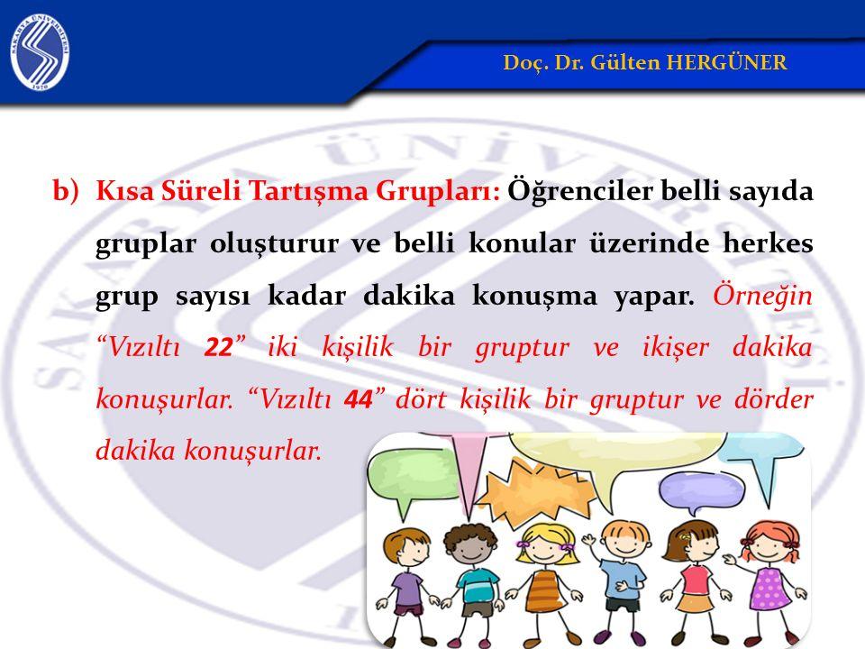 b)Kısa Süreli Tartışma Grupları: Öğrenciler belli sayıda gruplar oluşturur ve belli konular üzerinde herkes grup sayısı kadar dakika konuşma yapar.