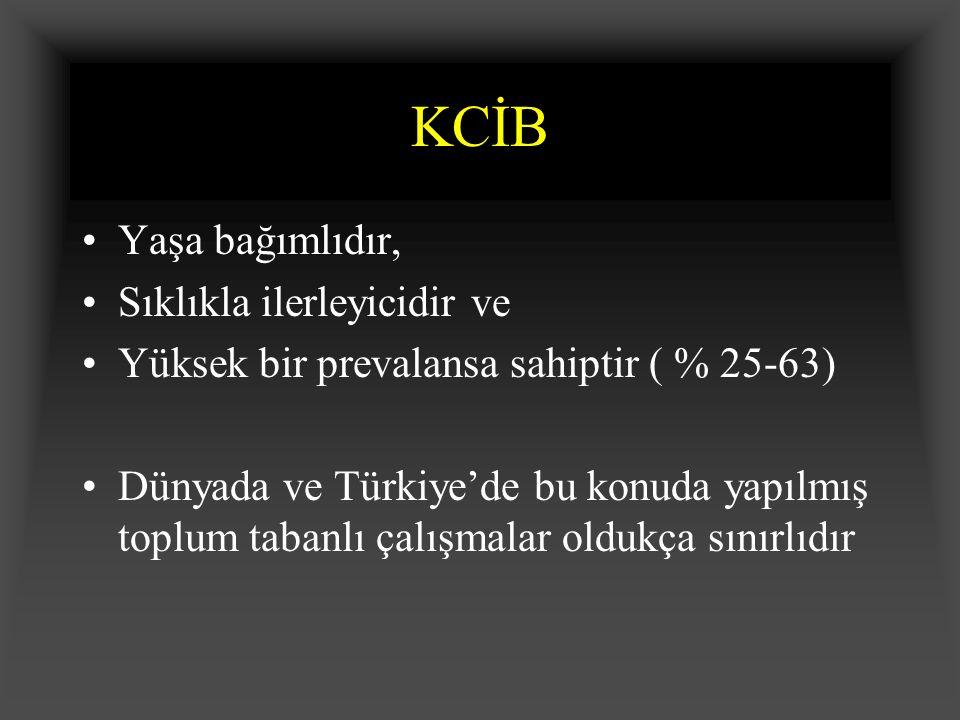 KCİB Yaşa bağımlıdır, Sıklıkla ilerleyicidir ve Yüksek bir prevalansa sahiptir ( % 25-63) Dünyada ve Türkiye'de bu konuda yapılmış toplum tabanlı çalışmalar oldukça sınırlıdır