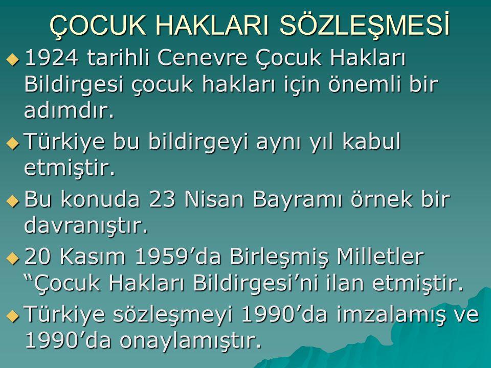 ÇOCUK HAKLARI SÖZLEŞMESİ  1924 tarihli Cenevre Çocuk Hakları Bildirgesi çocuk hakları için önemli bir adımdır.  Türkiye bu bildirgeyi aynı yıl kabul