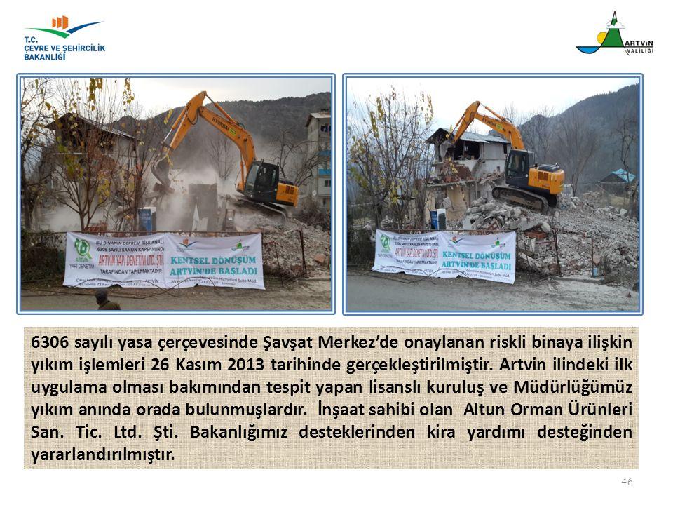 46 6306 sayılı yasa çerçevesinde Şavşat Merkez'de onaylanan riskli binaya ilişkin yıkım işlemleri 26 Kasım 2013 tarihinde gerçekleştirilmiştir. Artvin