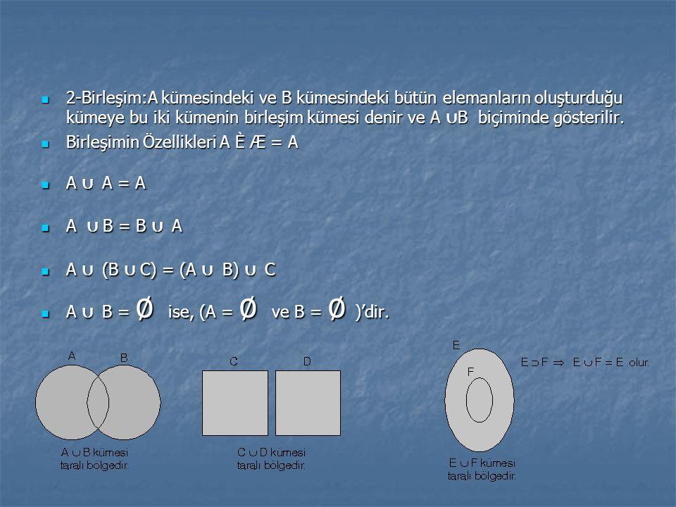 2-Birleşim:A kümesindeki ve B kümesindeki bütün elemanların oluşturduğu kümeye bu iki kümenin birleşim kümesi denir ve A ∪ B biçiminde gösterilir. 2-B