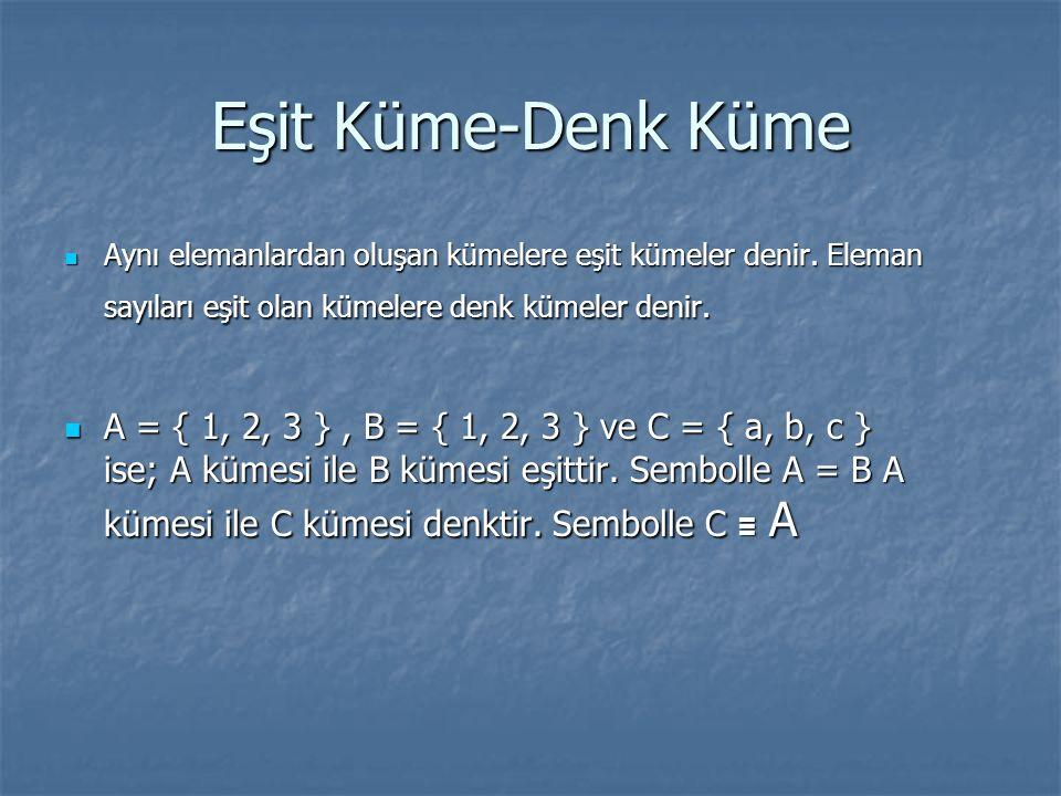 Eşit Küme-Denk Küme Aynı elemanlardan oluşan kümelere eşit kümeler denir. Eleman sayıları eşit olan kümelere denk kümeler denir. Aynı elemanlardan olu