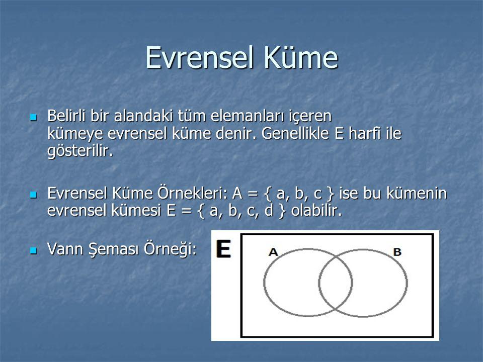 Evrensel Küme Belirli bir alandaki tüm elemanları içeren kümeye evrensel küme denir. Genellikle E harfi ile gösterilir. Belirli bir alandaki tüm elema