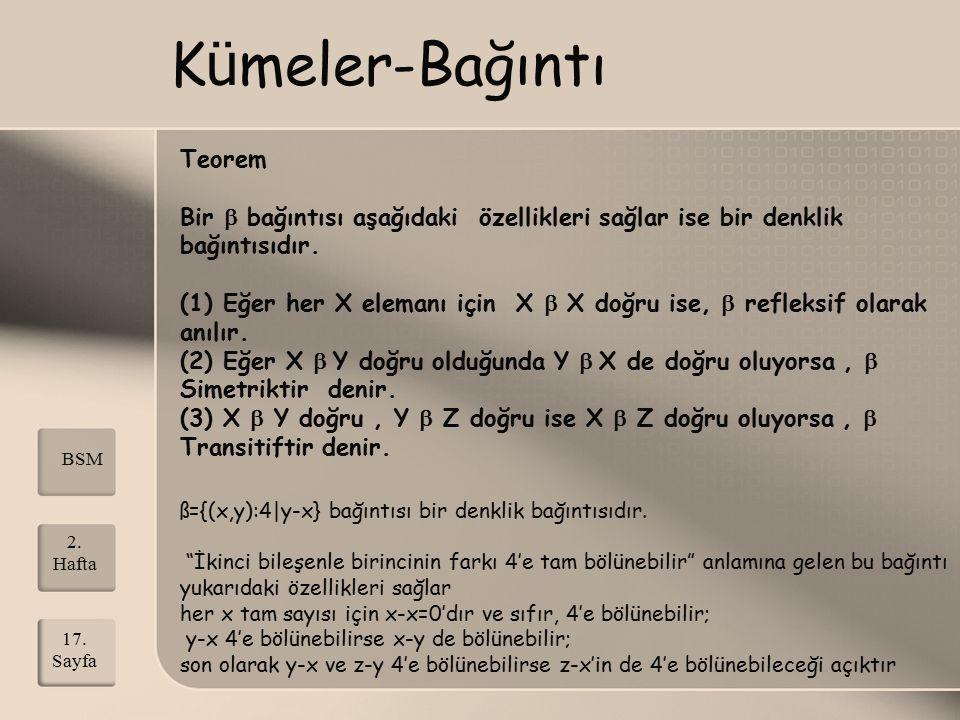 K ü meler-Bağıntı Teorem Bir  bağıntısı aşağıdaki özellikleri sağlar ise bir denklik bağıntısıdır. (1) Eğer her X elemanı için X  X doğru ise,  ref