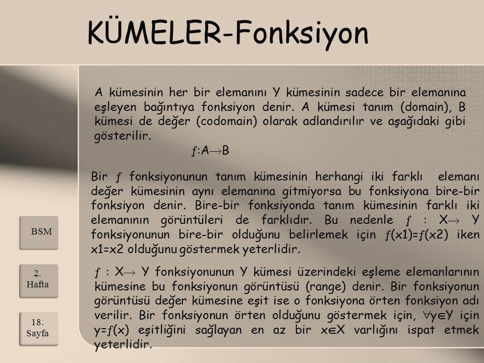 K Ü MELER-Fonksiyon A kümesinin her bir elemanını Y kümesinin sadece bir elemanına eşleyen bağıntıya fonksiyon denir. A kümesi tanım (domain), B kümes